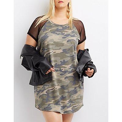 Plus Size Mesh-Trim Camo T-Shirt Dress