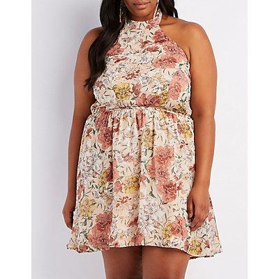 Plus Size Floral Halter Skater Dress