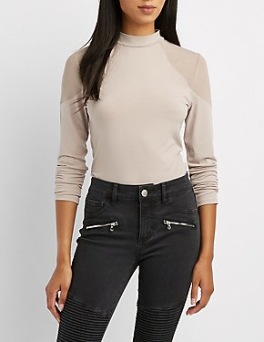 Mock Neck Mesh-Inset Top
