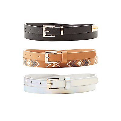Holographic, Embroidered, & Faux Leather Belts - 3 Pack