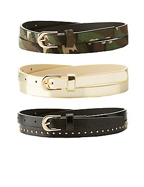 Plus Size Camo, Metallic & Studded Belts - 3 Pack