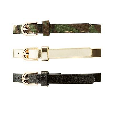 Plus Size Camo, Metallic & Studded Belts - 3 Pack