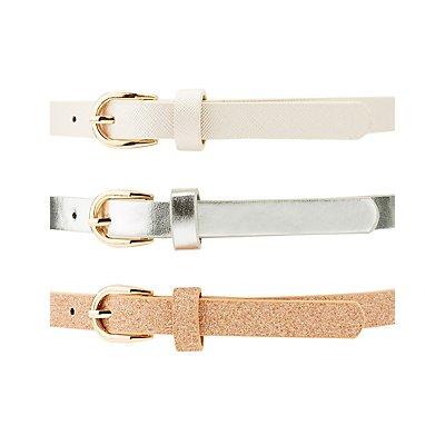 Plus Size Metallic & Glitter Belts - 3 Pack