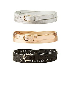 Plus Size Metallic, Laser Cut & Velvet Belts - 3 Pack