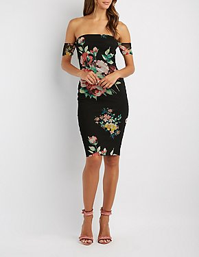 Floral Mesh Off-The-Shoulder Midi Dress