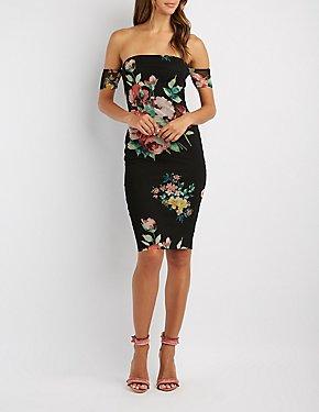 Floral Mesh Off-The-Shoulder Midi Dress
