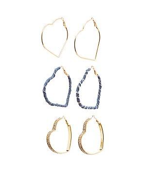 Mixed Embellished Heart Hoop Earrings - 3 Pack