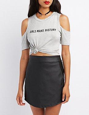Girls Make History Cold Shoulder Crop Top