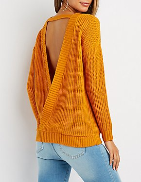 Shaker Stitch Wrap-Back Sweater