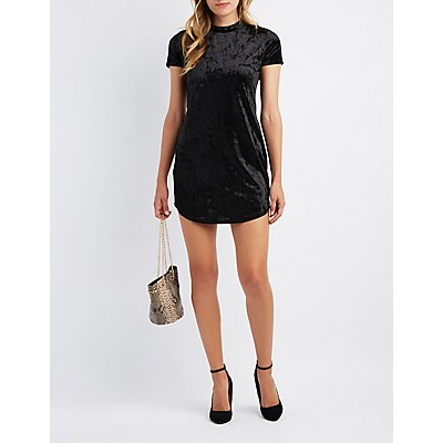 Velvet Mock Neck Bodycon Dress