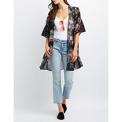 Floral Lace Inset Kimono