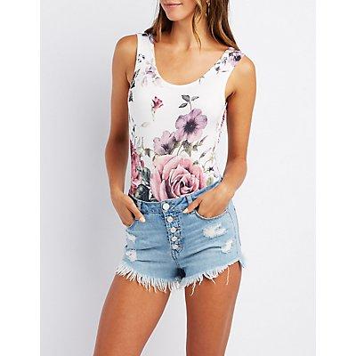 Floral Open-Back Bodysuit