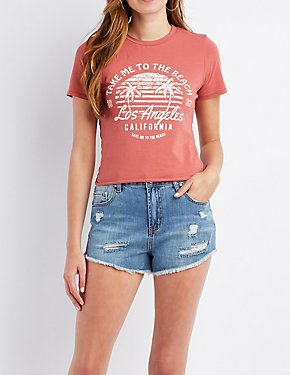 Take Me To The Beach Tie-Back Graphic Tee
