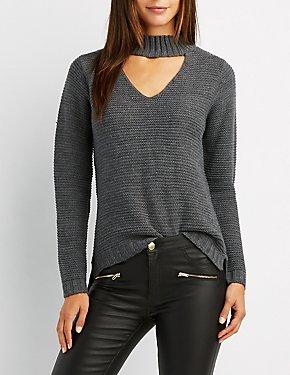 Shaker Stitch Mock Neck Cut-Out Sweater
