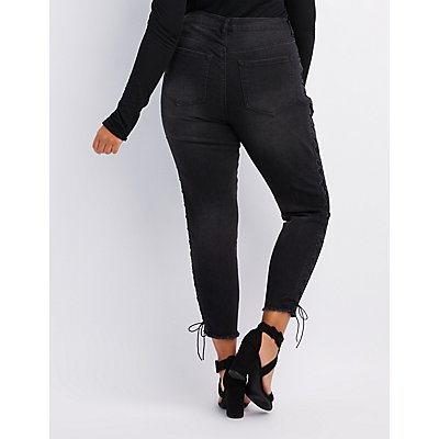 Plus Size Refuge Lace-Up Skinny Jeans