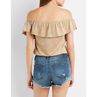 Faux Suede Off-The-Shoulder Lace-Up Top
