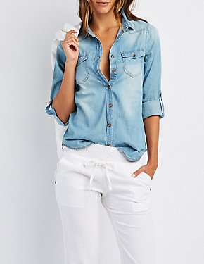 Chambray Pocket Button-Up Shirt