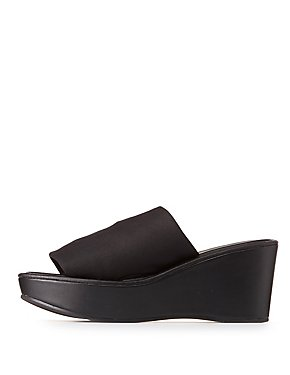 Qupid Wedge Slide Sandals
