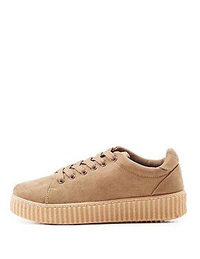 Faux Suede Flatform Creeper Sneakers