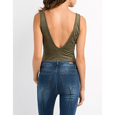 Faux Suede Open-Back Graphic Bodysuit