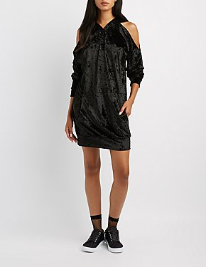 Velvet Cold Shoulder Sweatshirt Dress