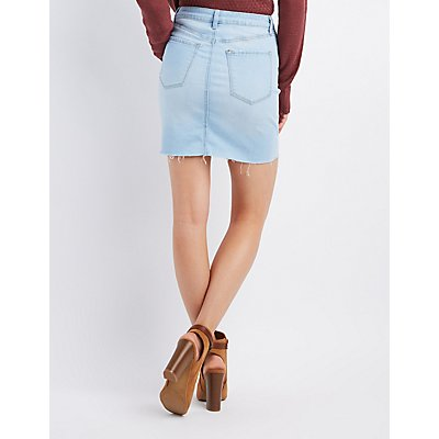 Refuge Destroyed Button-Up Denim Skirt