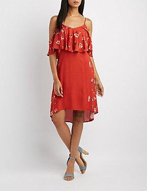 Floral Ruffle-Trim High-Low Dress