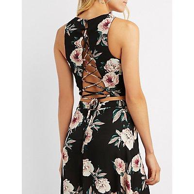Floral Lace-Up Back Crop Top