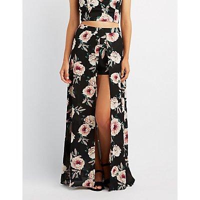 Floral Layered Maxi Shorts