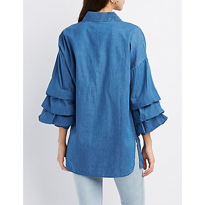 Chambray Ruched Sleeve Button-Up Tunic