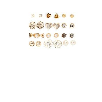 Embellished Glam Stud Earrings - 12 Pack