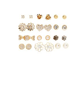 Embellished Glam Stud Earrings - 12 Pack