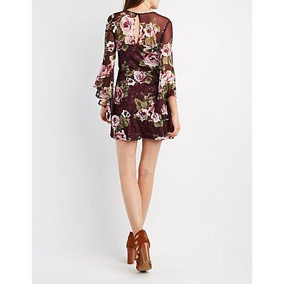 Floral Mesh Bell Sleeve Skater Dress