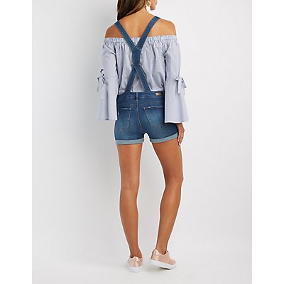Distressed Button-Up Denim Shortalls
