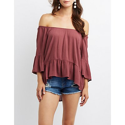 Ruffle-Trim Off-The-Shoulder Top