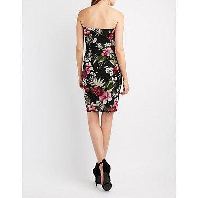 Floral Mesh Strapless Bodycon Dress