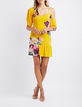 Floral Asymmetrical Cold Shoulder Dress
