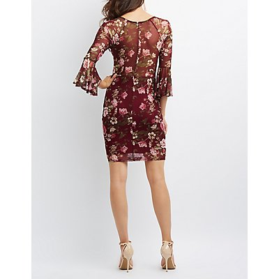 Floral Sheer Mesh Bell Sleeve Bodycon Dress