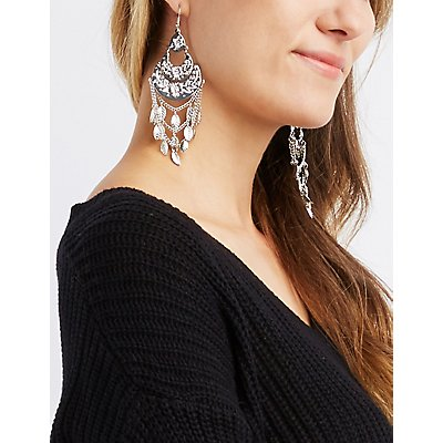Embellished Leaf Drop Earrings