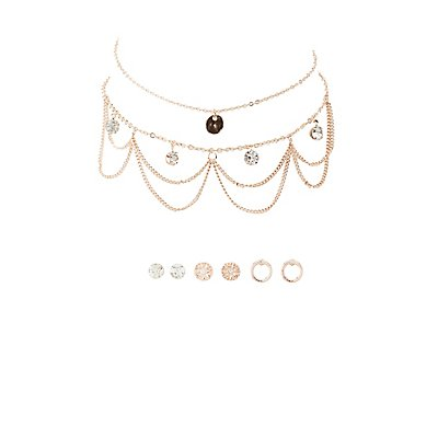Embellished Chokers & Stud Earrings Set