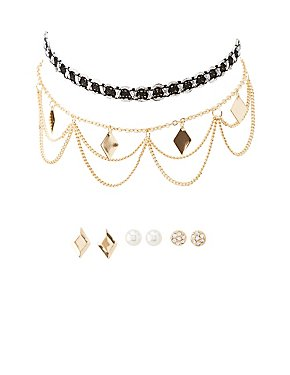 Chainlink Chokers & Stud Earrings Set
