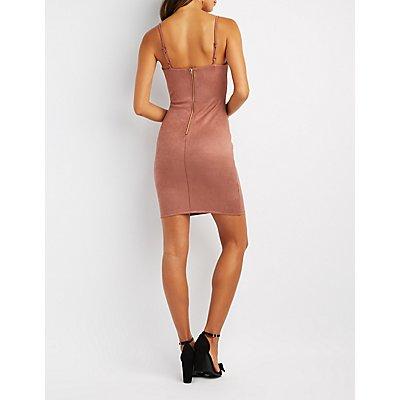 Faux Suede Bustier Bodycon Dress