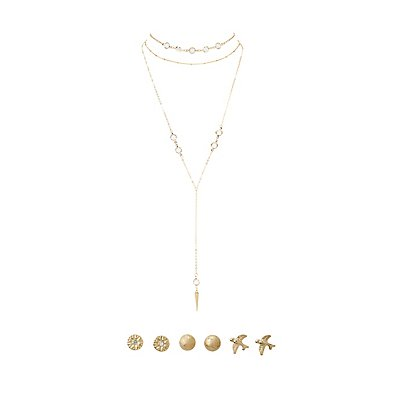 Embellished Layered Choker Necklace & Stud Earrings - 4 Pack