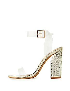 Clear Two-Piece Engraved Heel Sandals
