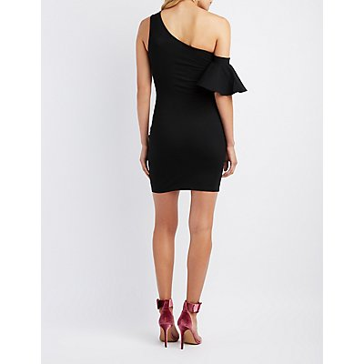 Embroidered Asymmetrical One-Shoulder Dress