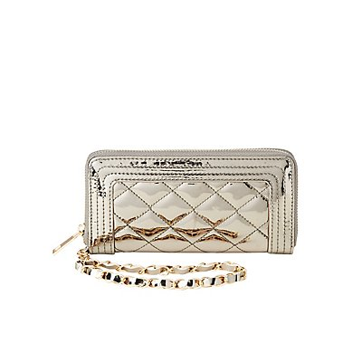 Metallic Quilted Wristlet Wallet