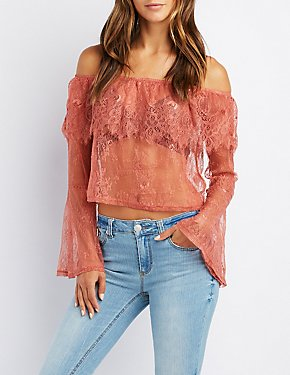 Lace Off-The-Shoulder Bell Sleeve Top