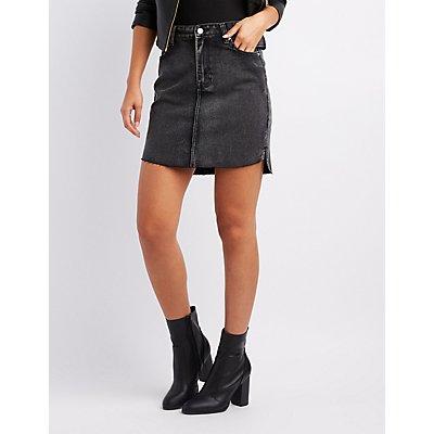Refuge Step Hem Denim Mini Skirt