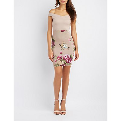 Floral Mesh Combo Off-The-Shoulder Bodycon Dress