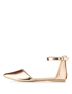 Metallic Pointed Toe D'Orsay Flats
